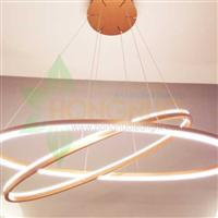 Oval 2 rings minimalist suspended led lighting 3500k